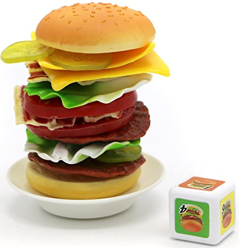 Little Treasures Cheese Burger Game with 17 Stacking Hamberger Pieces for 2-4 Players for Ages 3 and Up (Stacking Game)