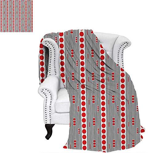 Custom Design Cozy Flannel Blanket Vertical Black Stripes and Big and Small Circles Minimal Lattice Grid Lightweight Blanket 70
