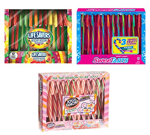 (Candy Canes - 3 Pack Sampler, 12 Jolly Ranchers, 12 Sweetarts, 12 Lifesavers )