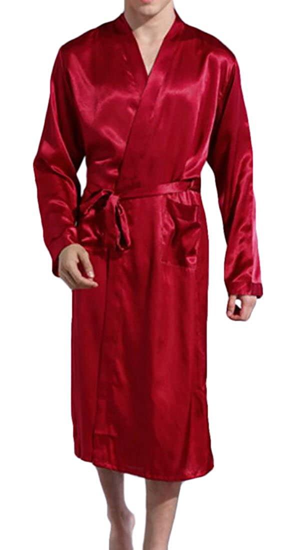 SELX Men Satin Robe Silk Bathrobe Kimono Sleepwear with Pockets