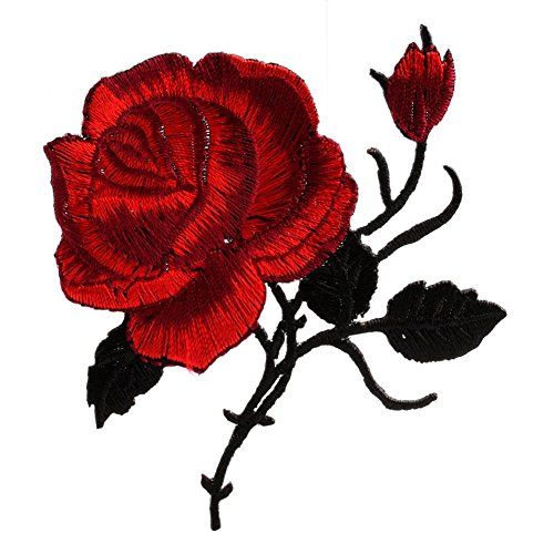 Mimgo Store Rose Flower Iron-On Embroidered Patch Applique Motif Garment Decoration Craft (Tiger Cotton Belt)
