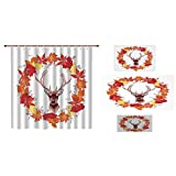 iPrint Bathroom 4 Piece Set Shower Curtain Floor mat Bath Towel 3D Print,Fall Decorations,Reindeer Head in Rounded Wreath Frame Made with Aesthetic Fall Leaves,Brown Orange,Picture Print Design.