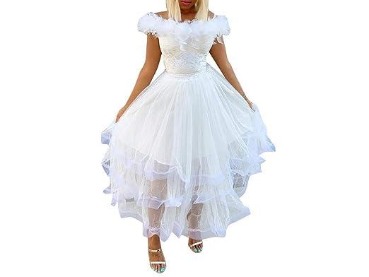 Greetuny 1X Vestidos de Fiesta Mujer Tul Pluma Sin Tirantes Novia ...