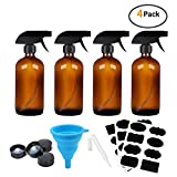 16oz Amber Glass Spray Bottles,Adjustable Sprayers & Chalk Labels, with caps for Essential Oils, Cleaning Products, or Aromatherapy (Spray Bottle Set)