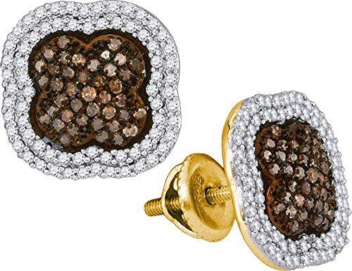 - Womens 10K Yellow Gold Clover Enhanced Cognac Brown Real Diamond Stud Earring 3/4 CT (clarity; Brown color)
