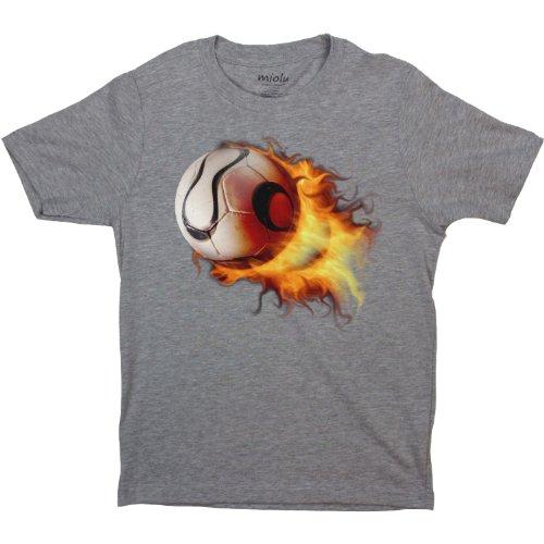 Miolu Boys Flaming Soccer Ball - T-Shirt, X-Large, - Soccer Flaming Ball T-shirt