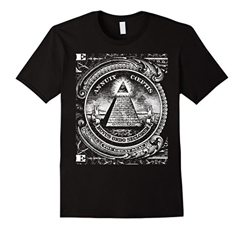 Mens Dollar All Seeing Eye Illuminati Freemasons Pyramid T-Shirt Small Black
