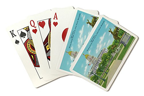 Denver, CO - State Capitol and Grounds, Bronco Buster and Indian Warrior Monuments View (Playing Card Deck - 52 Card Poker Size with Jokers) (Denver Co State Capitol)