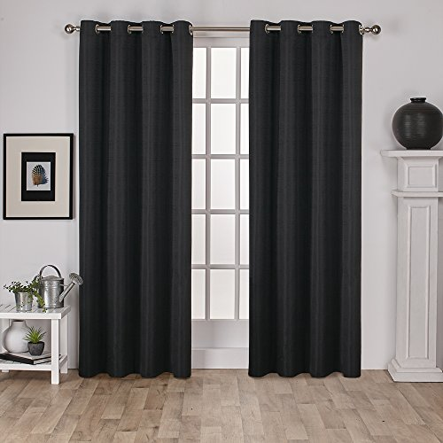 Exclusive Home Curtains Virenze Faux Silk Grommet Top Window Curtain Panel Pair, Midnight, 54&#2 ...