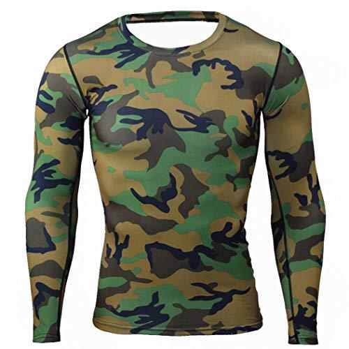 WUAI Deals, Mens Casual Shirts Camo Print Lightweight Crewneck Muscle Bodybuilding Sportswear Tops(Army Green,US Size 2XL = Tag 3XL)