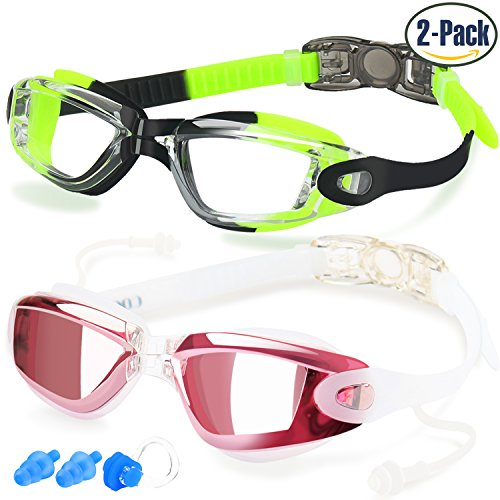 Childrens Swimming Goggles (Swim Goggles, Pack of 2, Swimming Glasses for Adult Men Women Youth Kids Child, with Anti-Fog, Waterproof, UV 400 Protection Lenses, Made by)