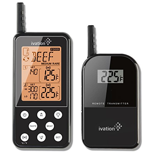 Ivation Long Range Wireless Thermometer - Dual Probe - Remote BBQ, Smoker, Grill, Oven, Meat Thermometer - Monitors Food From Up To 300 Feet Away(Black)