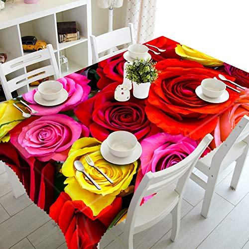 Rose 152228CM BZ-ZXS Nappe De Table, Anti-PoussièRe 3D Fleur Rose Rouge éCologique sans GoûT Facile à Nettoyer Rectangle Rond voitureré,Rose,152  228CM