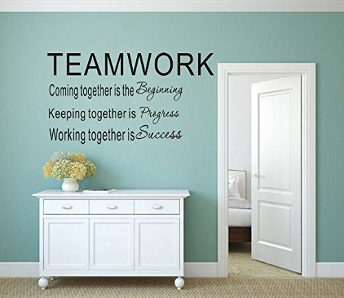 MAFENT Teamwork Definition Wall Decals Quotes Vinly Sayings Wall Art Decor Lettering Vinyl Office Wall Decoration (Black) ()