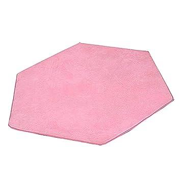 Sharplace Cojín Suave de Dormitorio Alfombra de Paño Grueso Coralino para Tienda de Campaña Infantil - Rosado, Hexagonal 140x120cm