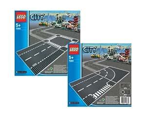 LEGO 7280 - 7281 City - Plancha de calle recta con cruce y curva con cruce en T
