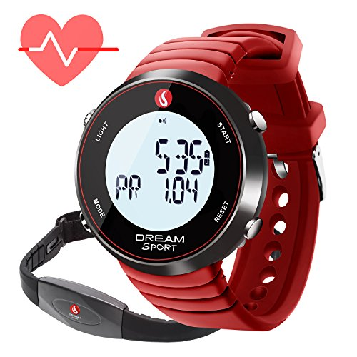 dreamsport Fitness Tracker, Heart Rate Monitor Watch with Chest Strap and Stopwatch/Alarm/Calorie Counter/7 Days Memory/BMI/30M Water Resistant (088-Red) ()