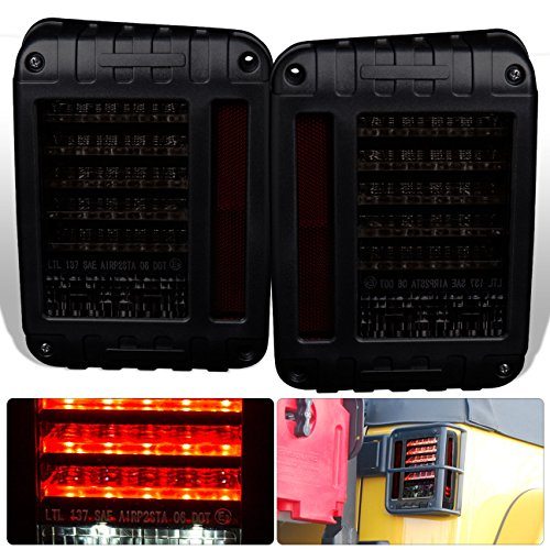 For Jeep Wrangler Jk Pair Left + Right Rear Tail Light Lamp Bar Led L.E.D. Black Housing Smoke Smoked Lens Upgrade Assembly Pair Left Right