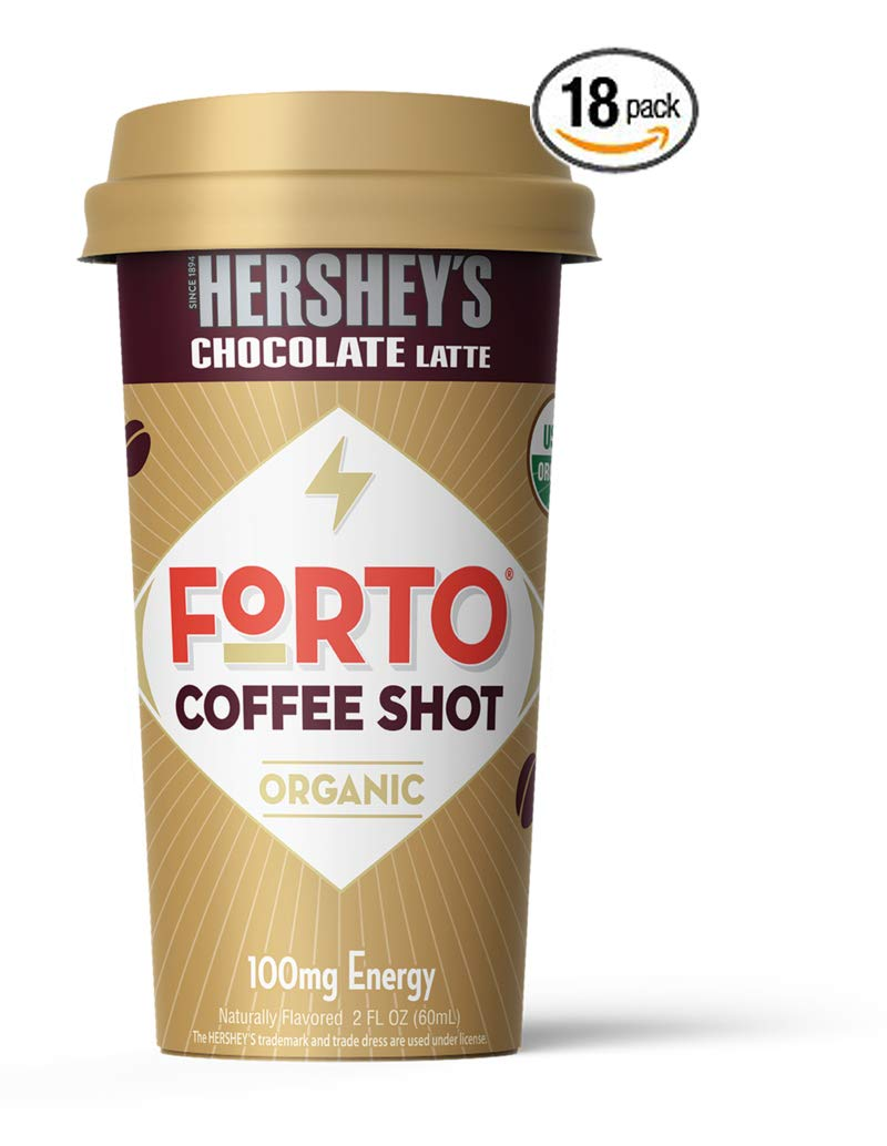 FORTO Coffee Shots - 100mg Caffeine, Hershey's Latte, Ready-to-Drink on the go, High Energy Cold Brew Coffee - Fast Coffee Energy Boost, 18 Pack
