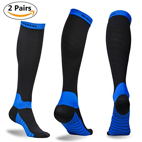 Compression Running Sport Socks (Compression Socks for Women & Men (2 Pairs), Deilin Graduated Compression Sock 20-30 mmhg for Running, Athletic Sports, Flight Travel, Nurses, Maternity Pregnancy, Shin Splints, Edema, Varicose Veins)