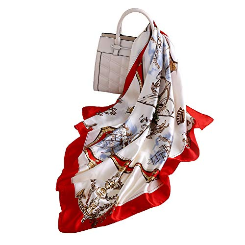 100% Silk Scarf - Women's Fashion Large Sunscreen Shawls Wraps - Lightweight Floral Pattern Satin for Headscarf&Neck (Square-Red)