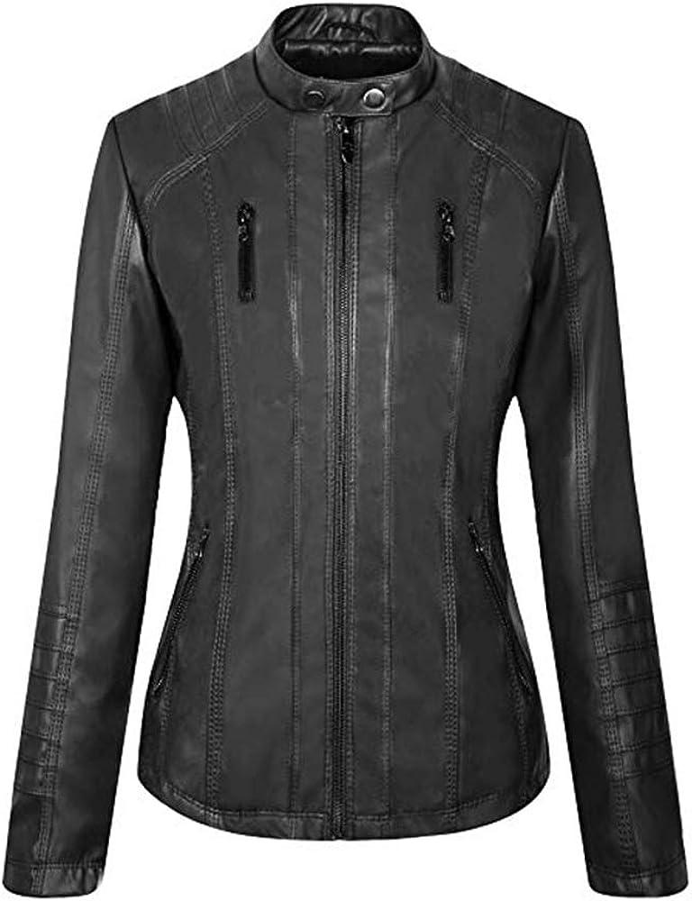 Seamido Damen Kunstleder Lederjacke Motorrad Jacke mit Rei/ßverschluss und Kapuzen Bikerjacke /Übergangsjacke /…