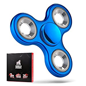 Gorilla Spinners - Fidget Spinner Toy with Metal Coating and High Speed Steel Bearing in Premium Carton Gift Box, 1-4 min of Spin Time (blue)