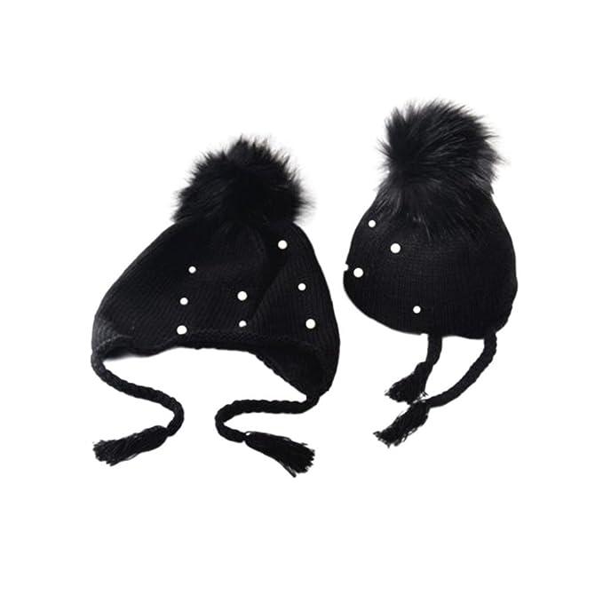 9f434abe014 KaiCran Baby Boy Girl Hair Ball Earbud Hat Child Print Knit Hat at ...