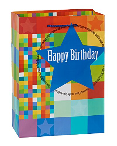 American Greetings Medium Birthday Gift Bag, Stars and Squar
