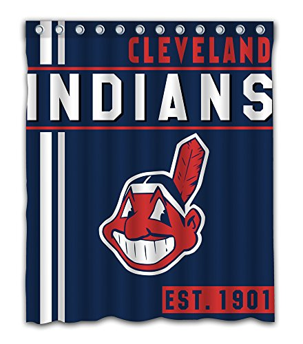 Indians Baseball Cleveland Display (Cleveland Baseball Team Emblem Waterproof Shower Curtain Blue Design Polyester For Bathroom Decoration 60 x 72 Inches With 12-Pack Plastic Hooks)