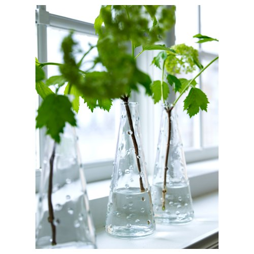 Ikea Clear Knobby Glass Vase-Snartig X3