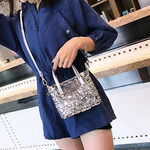 Color Hit Silver Bags Bag Sparkling Bag Crossbody Shoulder Small Glitter Girls Tote Janly Handbags Sequins Silver fnqw7xHHP