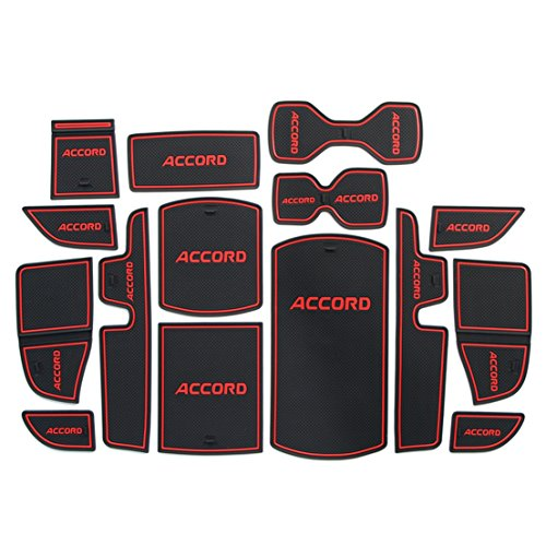2018 Honda Accord LX Sport EX EX-L Touring EX-L Navi Car Cushion Non-Slip Gate Slot Pad Cup Mat Car Interior Door Slot Pad Automotive Decoration 15pcs/Set Come with LOGO (Red)