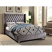 Meridian Furniture AidenGrey-K Aiden Velvet Upholstered Button Tufted Wingback Bed with Chrome Nailhead Trim and Custom Chrome Legs, King, Grey