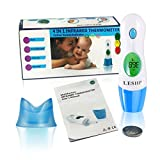 LESHP Kids Baby Thermometer 4 In 1 Multifunction LCD Display Digital Forehead Ear Fever Thermometer for Kids Infants Adults (Blue)
