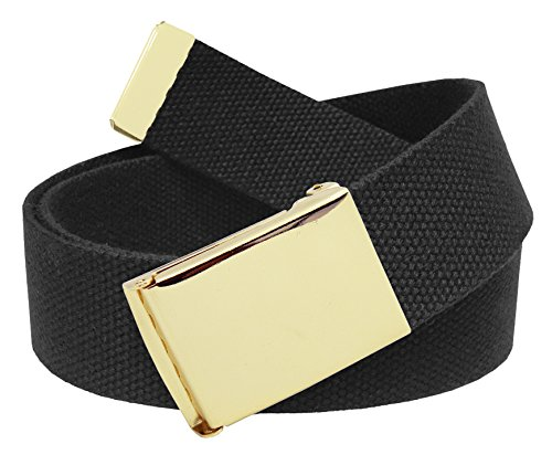 All Sizes Men's Golf Belt in 1.5 Gold Brass Flip Top Buckle with Adjustable Canvas Web Belt Large Black