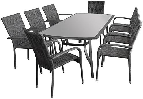 9 Ensemble table avec plateau en verre satiné 180 x 95 cm - 8 x ...