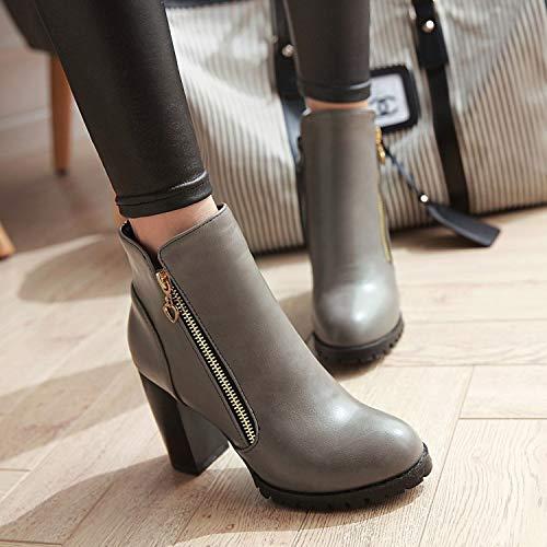 39 Zapatos Boda La Alto Mujer Gruesas Metálica Con Botas Corte Rojos Hrcxue Y Gris Cremallera De Tacón a1Ewd1q