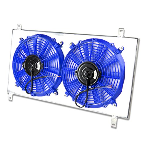 Mitsubishi Eclipse MT Aluminum Bolt-on Cooling Radiator Fan Shroud (Blue) - 3rd Gen 3G 6G72 (Mitsubishi Eclipse Radiator Cooling Fan)