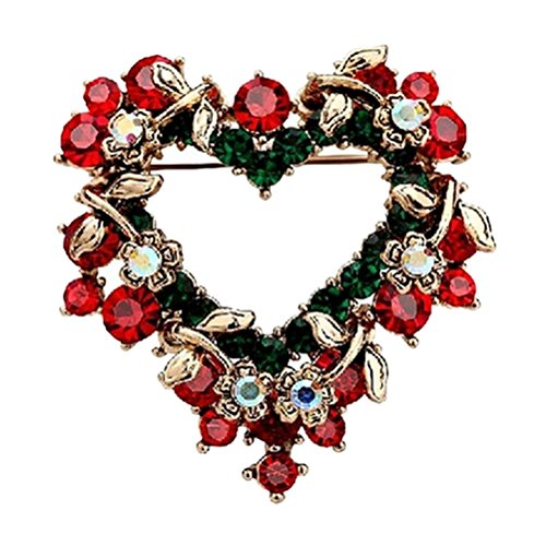 Haodeba 1 Piece Vintage Lovely Red Rhinestone Christmas Wreath Brooch Love Heart Brooch Pin Santa Claus Gift Party Favor ()