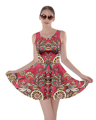 CowCow Womens Red Damask Skater Dress, Red Damask - -