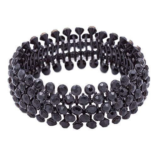 Lavencious Tennis 5 Row Rhinestone Stretch Bracelets Bridal Evening Party Jewelry for Woman Bangle (Black - Bracelet Black Stretch Faceted