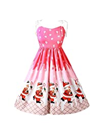 FarJing Christmas Dress, Women Lace Patchwork Printing Vintage Gown Party Dress