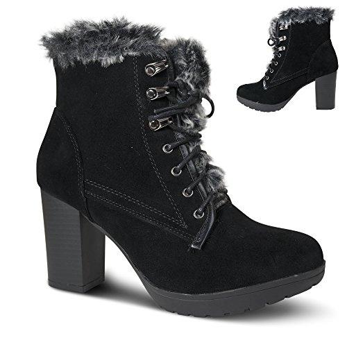 Damen Stiefeletten gefüttert Boots Stiefel High Heels Schnürer ST117