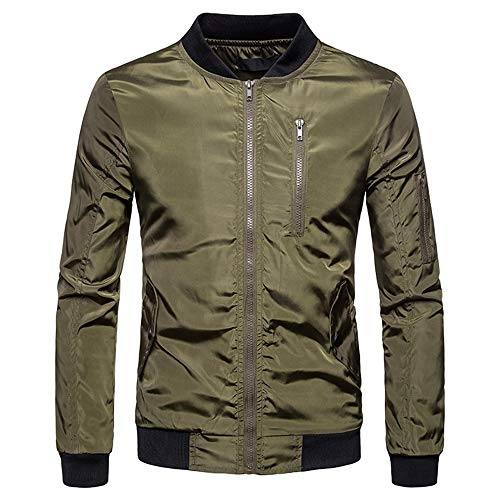5ed43a767 excellent.c Men's Casual Outdoor Sportswear Long-Sleeved Jacket Basic  Jacket(Green Medium)