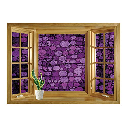 - SCOCICI Window Mural Wall Sticker/Indigo,Retro Vintage 60s Home Decor Inspired Dots Circles on Grunge Backdrop,Eggplant Purple and Lilac/Wall Sticker Mural