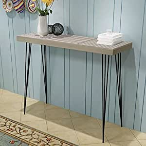 Festnight Console Table Side Table High Table Display Stand Living Room Furniture Steel Feets Simple and Modern 90x30x71.5 cm Grey