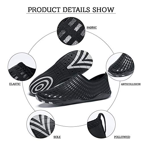 Swim Shoes Surfing Lightweight for Womens Boating Madaleno Aqua Driving Beach Dry Yoga Walking Quick Sports Black Mens Garden rect Water Diving Shoes zvzqItn7O