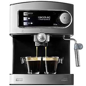 Cecotec Power Espresso Cafetera presión 20 Bares, Inoxidable, depósito 1,5 litros, Color Acero y Negro, 850 W, 0 Decibeles
