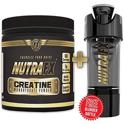 Force Maximum Nutrafx créatine en poudre | Gratuit cadeau bouteille Shaker | VÉRITABLE NATUREL NON STIMULANTE | MUSCULATION FORCE | Monohydrate de créatine 300g (micronisé)